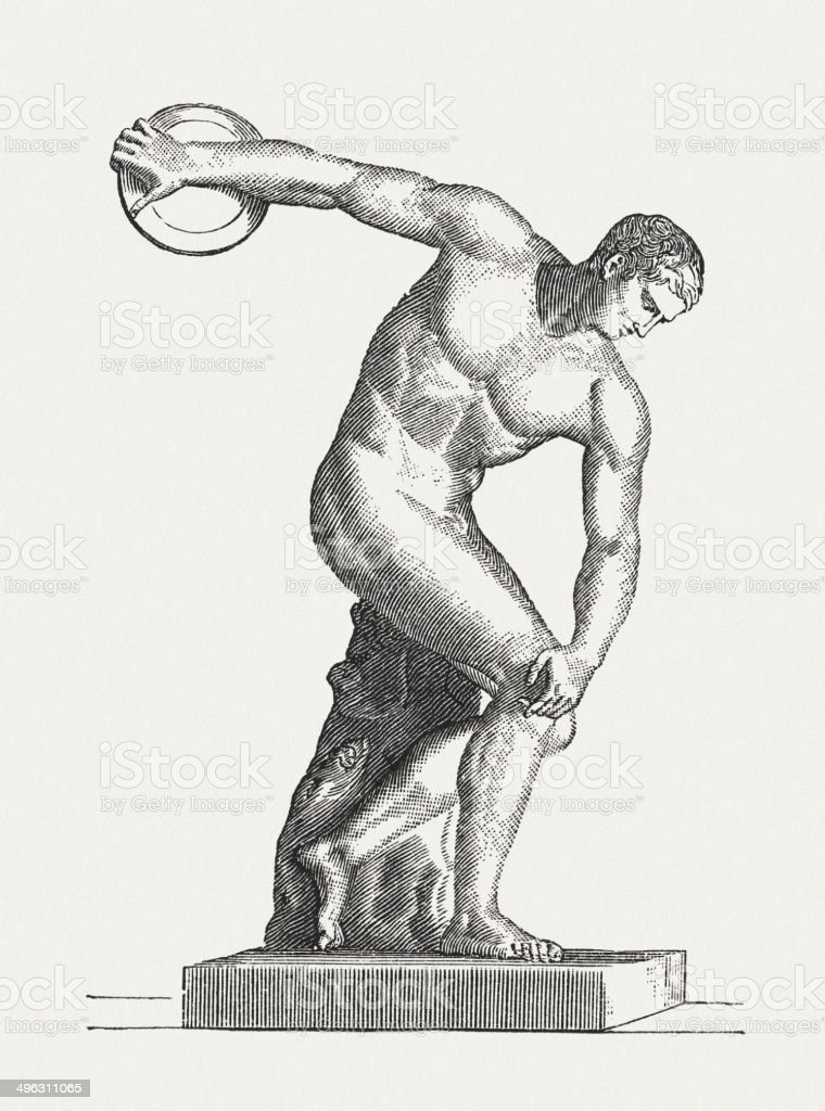 Discus thrower, ancient sculpture, wood engraving, published  in 1881 vector art illustration