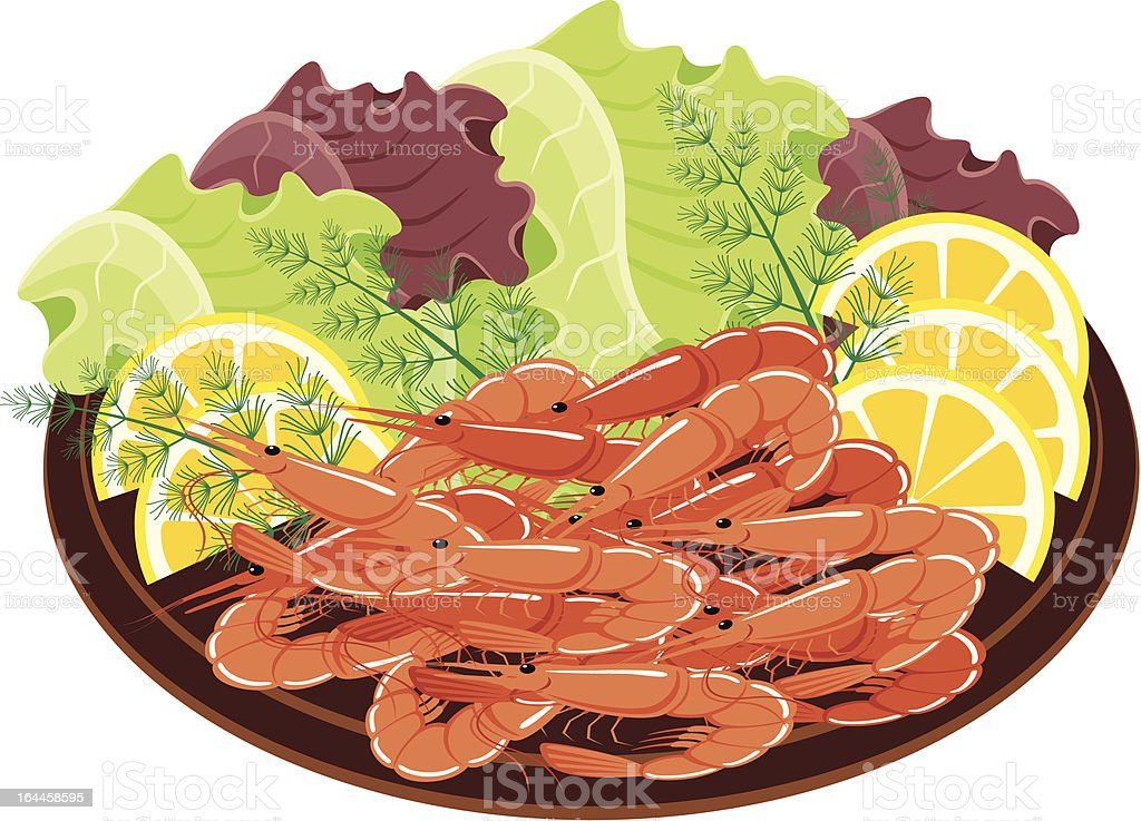 Dish from shrimps and vegetables. royalty-free stock vector art