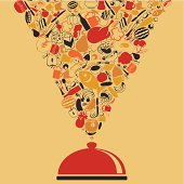 Meal take off from a dish. A vector illustration