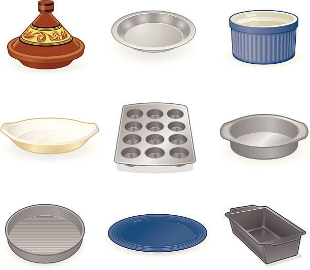 Dishes and Pans Dishes and Pans for cooking in the kitchen. High res JPG included muffin tin stock illustrations