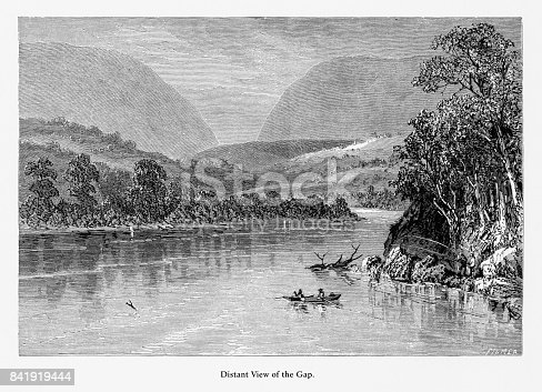 Very Rare, Beautifully Illustrated Antique Engraving of Distant View of the Delaware River Water Gap, Pennsylvania, United States, American Victorian Engraving, 1872. Source: Original edition from my own archives. Copyright has expired on this artwork. Digitally restored.