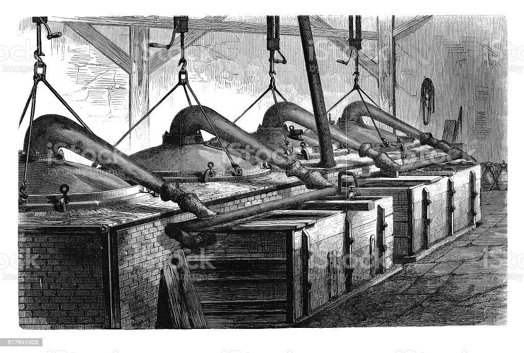 Distilation of Methylaniline (antique engraving) vector art illustration