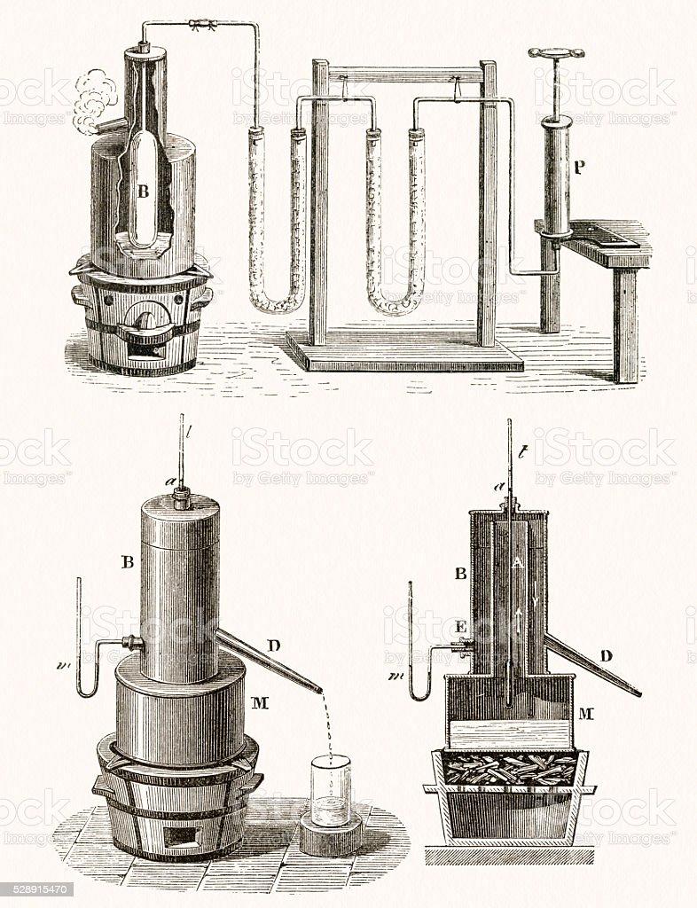 Distillation apparatus scientific illustration vector art illustration