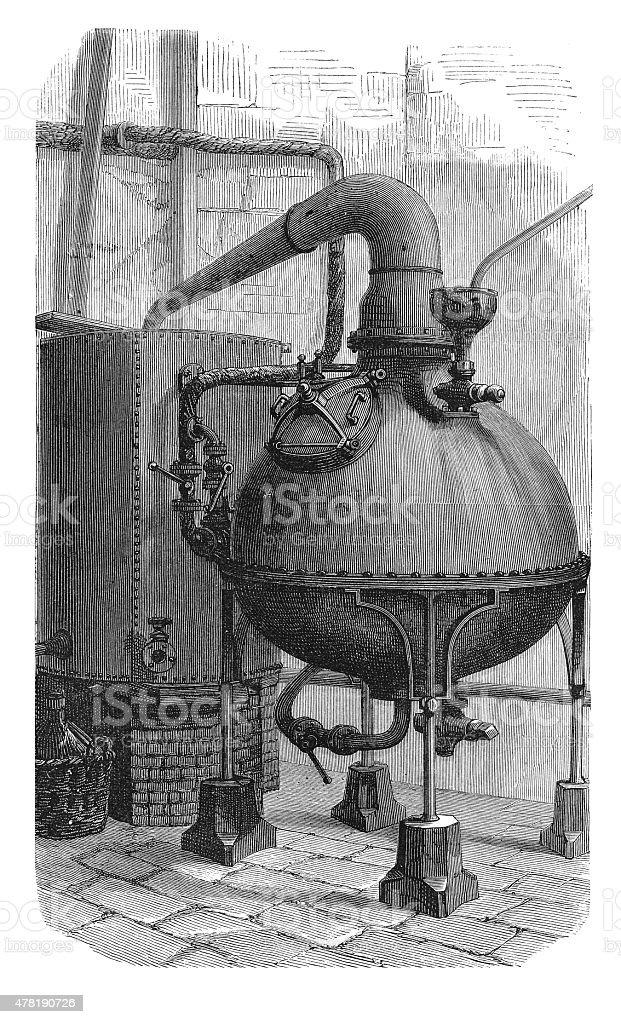 Distilling Apparatus (antique engraving) vector art illustration