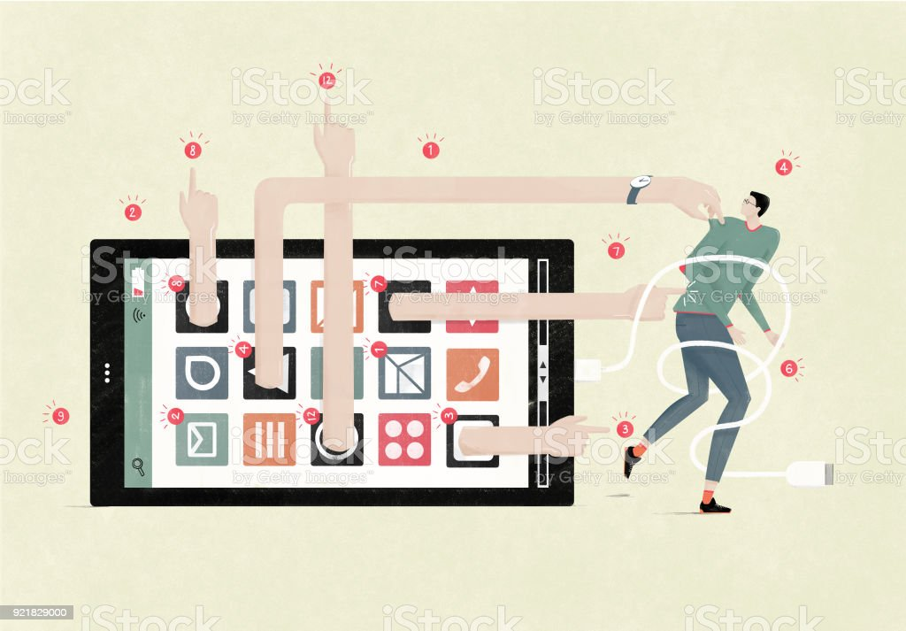 Distracted by smartphone notifications overload vector art illustration
