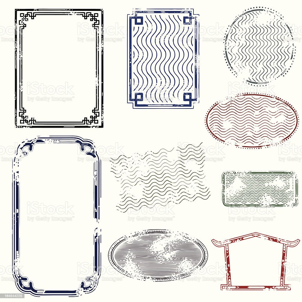 Distressed Asiatic Grunge Frames royalty-free stock vector art