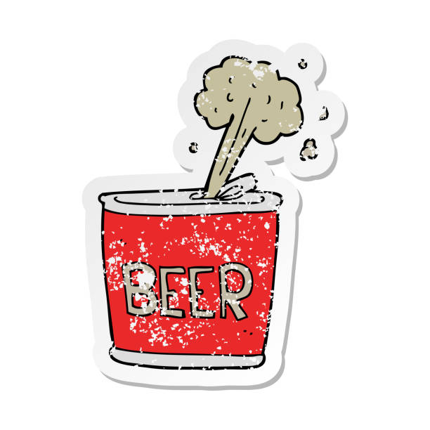 distressed sticker of a cartoon beer can vector art illustration