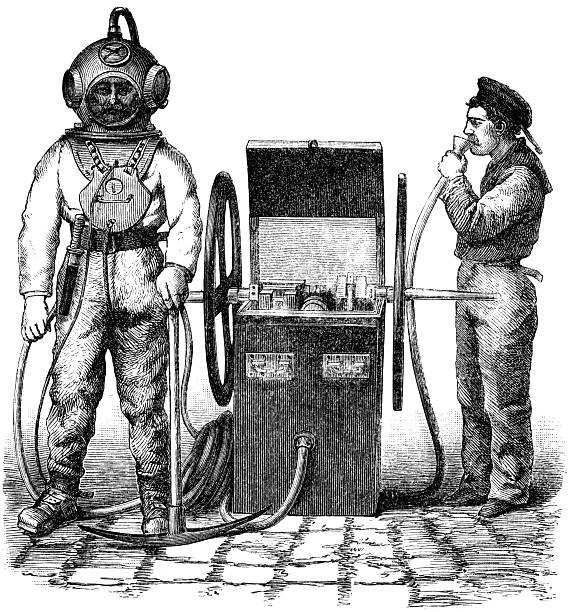 dive suit - old man photo pictures stock illustrations, clip art, cartoons, & icons