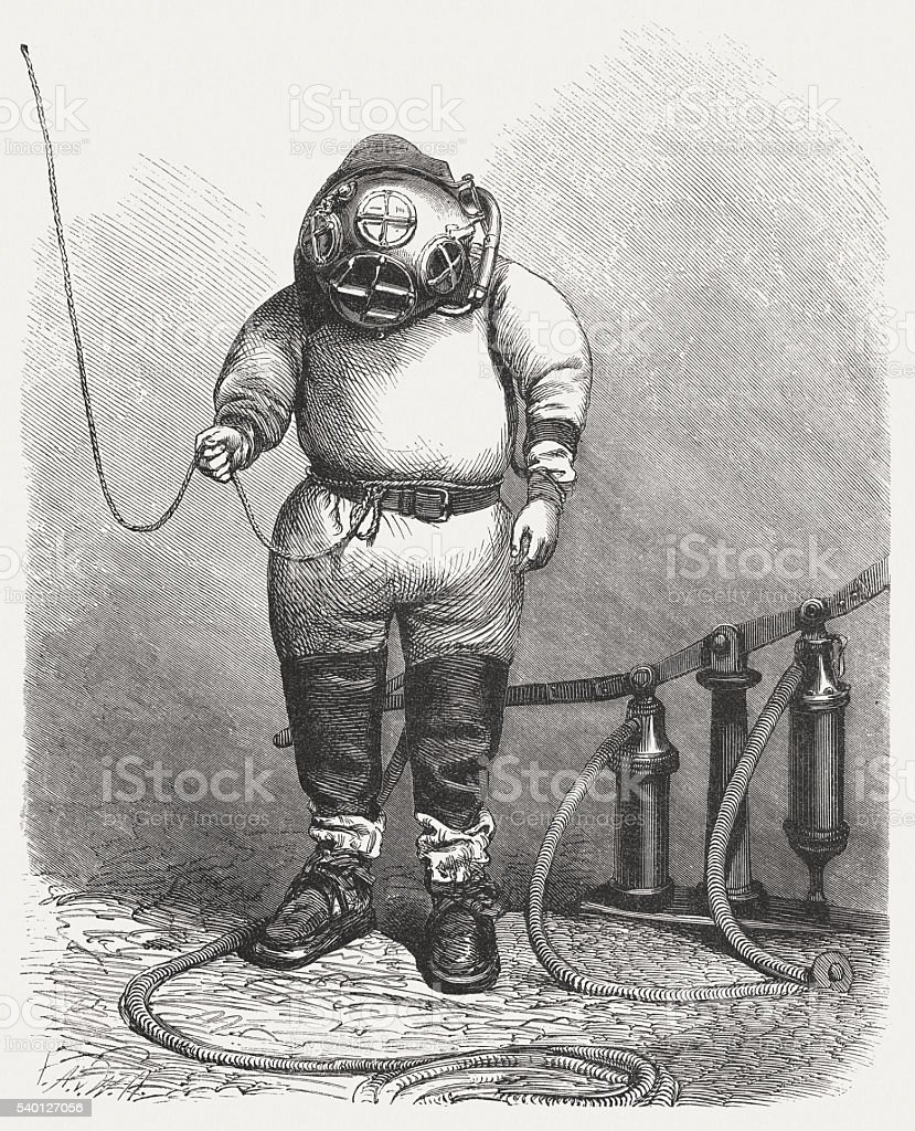 Diver in the past, wood engraving, published in 1870 vector art illustration