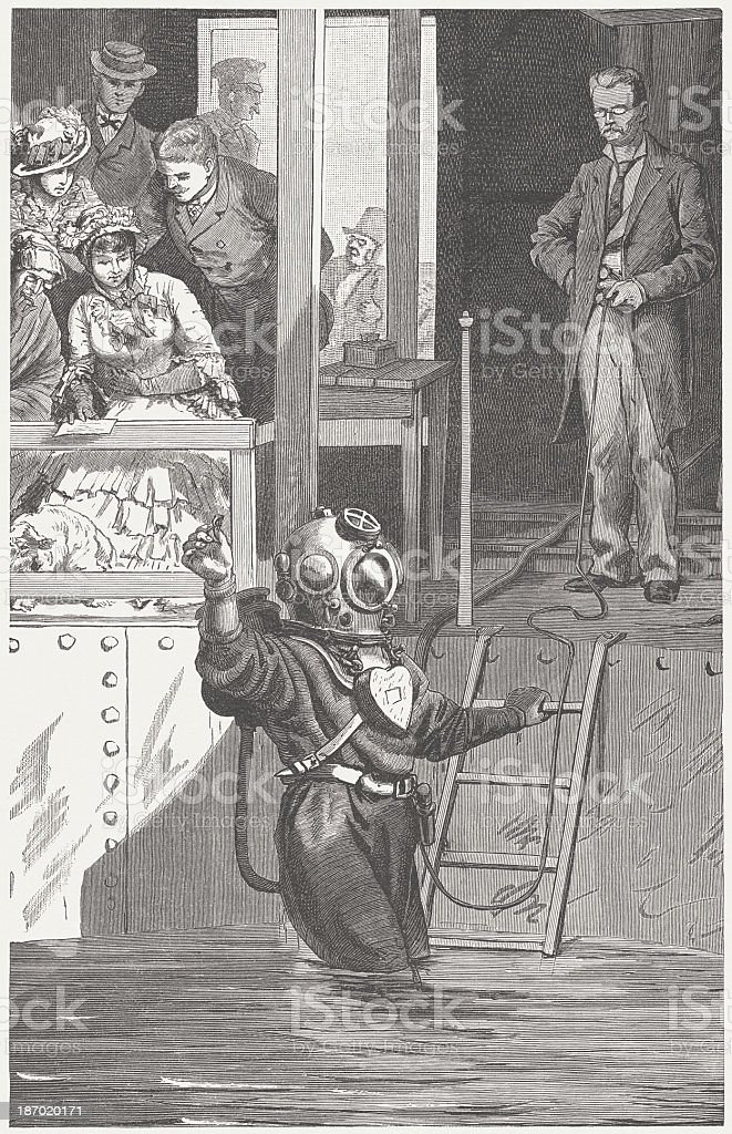 Diver presentation in 19th century, wood engraving, published in 1883 royalty-free stock vector art