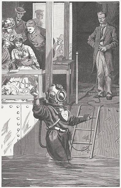 illustrazioni stock, clip art, cartoni animati e icone di tendenza di sommozzatore presentazione - frogman