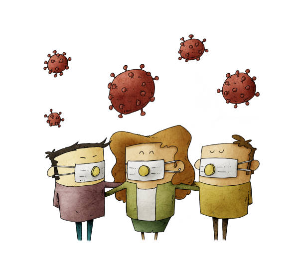 Diverse people wear a mask with filter to avoid a virus that is in the air above them. concept of protection against COVID-19. isolated vector art illustration