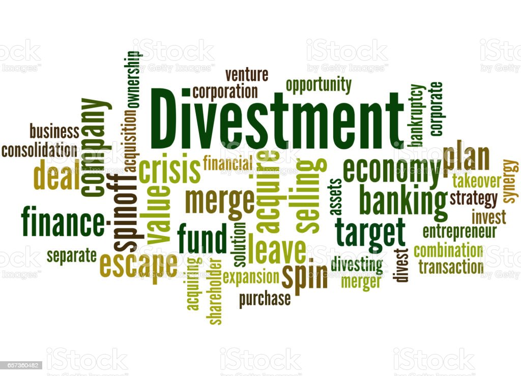 divestment Divestment when a company divests, the company disposes of part or all of its business divestments commonly occur when a particular division of a company does not live up to its expectations.