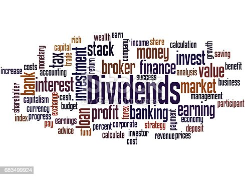 Dividends, word cloud concept on white background.