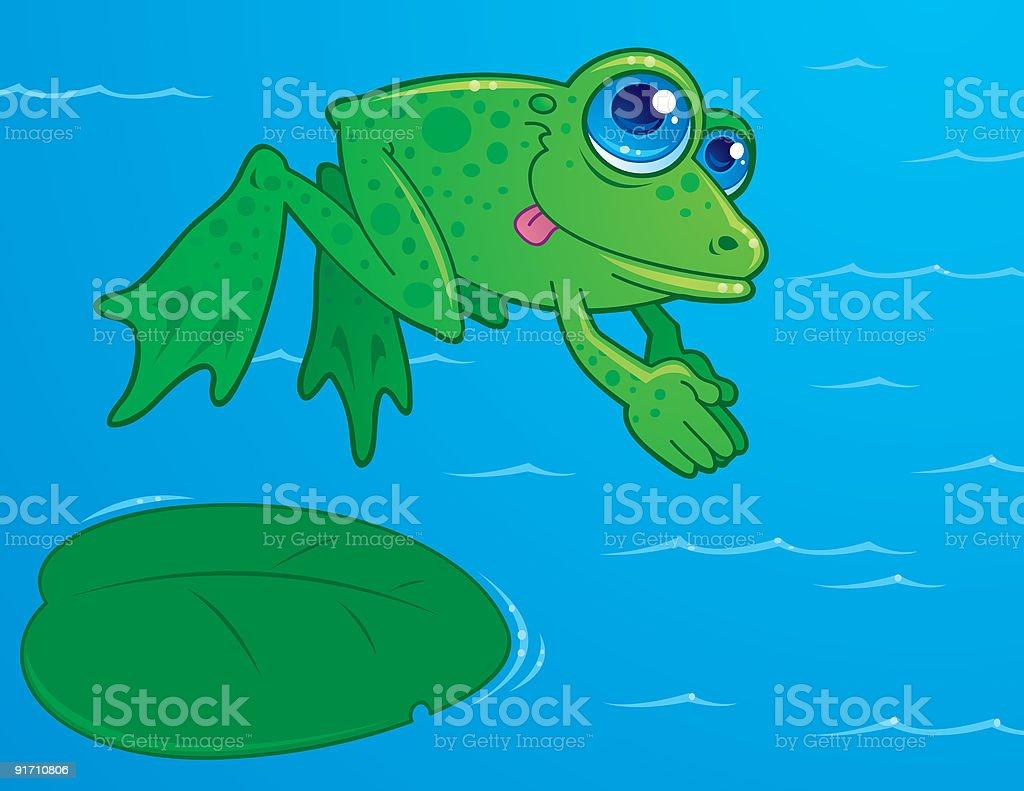 Diving Frog vector art illustration