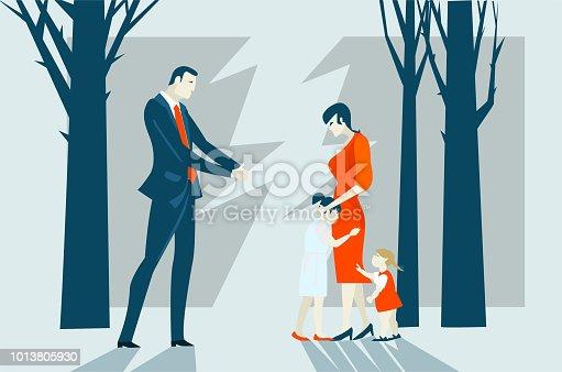 Divorce. Family braking concept illustration