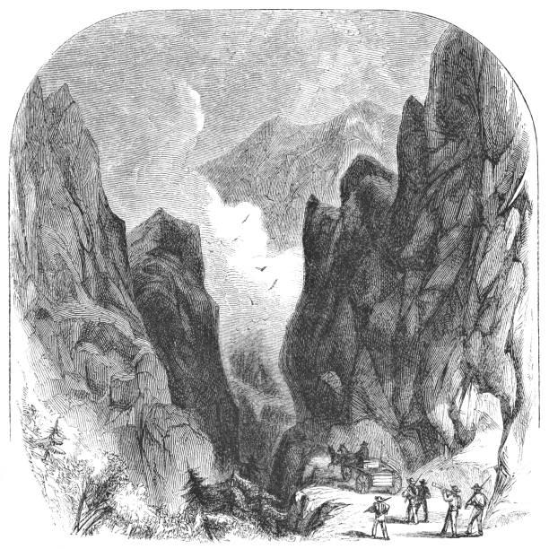 stockillustraties, clipart, cartoons en iconen met dixville notch bergpas in new hampshire, usa (19e eeuw) - dixville notch