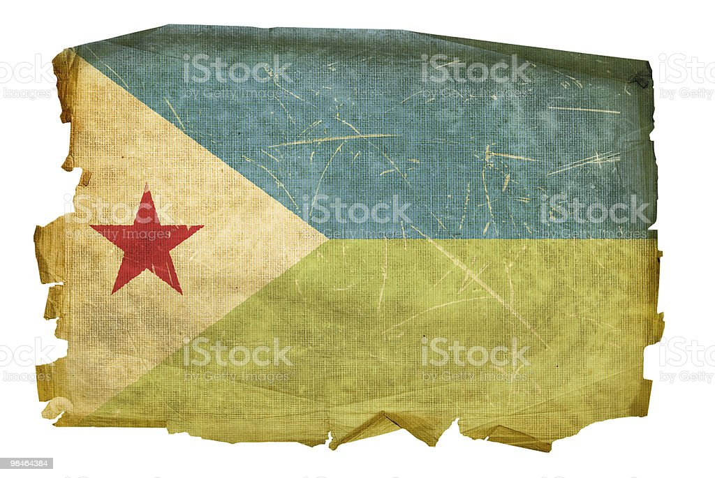 Djibouti Flag old, isolated on white background. royalty-free djibouti flag old isolated on white background stock vector art & more images of aging process