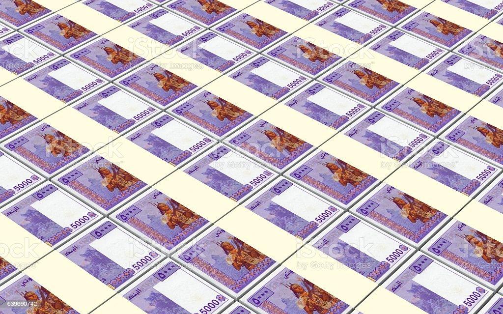 Djiboutian franc bills stacks background. vector art illustration