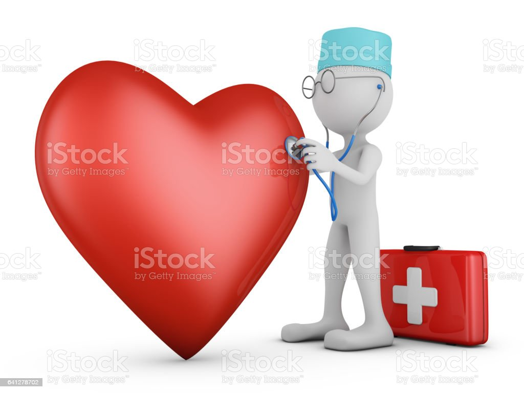 royalty free 3d people doctor with a stethoscope and red heart clip rh istockphoto com Cute Heart Doctor Vintage Heart Clip Art