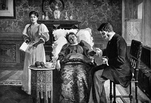 Doctor examines the patient's state of health during home visits - 1896