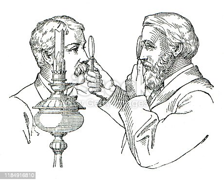 Ophthalmoscope, instrument for inspecting the interior of the eye. The ophthalmoscope generally is considered to have been invented in 1851 by the German physiologist Hermann von Helmholtz Original edition from my own archives Source :