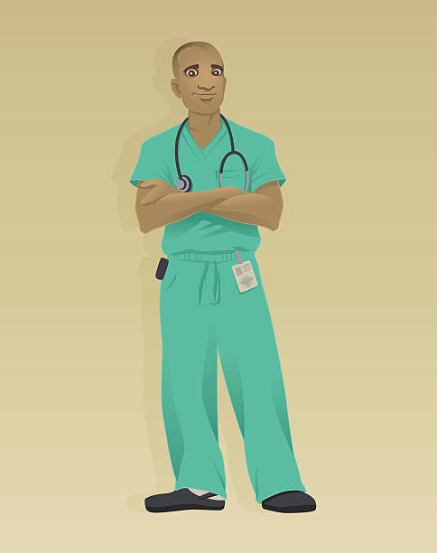 Doctor Green Scrubs An African-American male doctor casually standing with arms folded and wearing green scrubs. male nurse stock illustrations