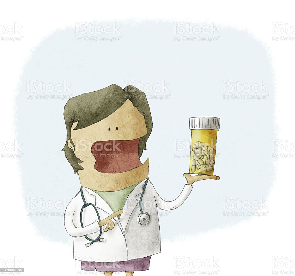 Doctor holding a bottle of pills royalty-free doctor holding a bottle of pills stock vector art & more images of accidents and disasters