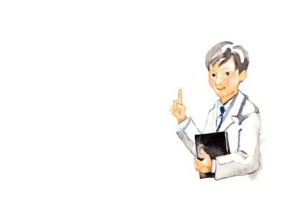 Doctor Doctor The man who put on a white robe Small embroidered design in one spot advice 病院 stock illustrations