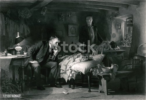Vintage image features a doctor making a house call for a sick child as the parents watch over in grief.