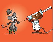 Doctor mouse presenting a gigantic syringe to scared patient
