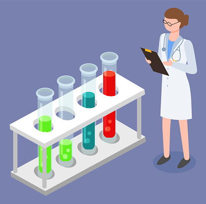Doctor Researching Set Raster in Test-glass Vector