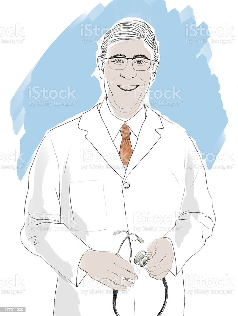 Doctor smiling vector art illustration