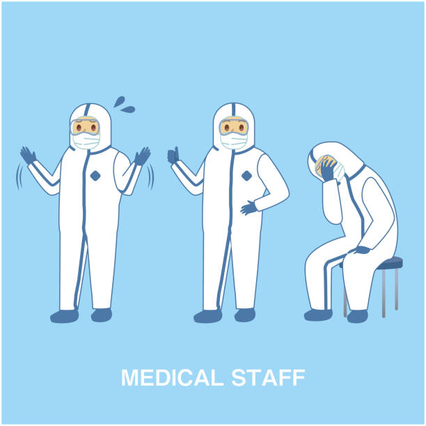 Doctor wearing protective clothing and posing for COVID-19 measures Doctor wearing protective clothing and posing for COVID-19 measures 医療 stock illustrations