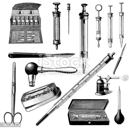 Doctor's Instruments and Tools   Vintage Medical Illustrations