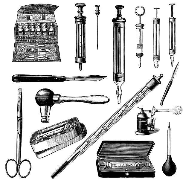 stockillustraties, clipart, cartoons en iconen met doctor's instruments and tools | vintage medical illustrations - naald chirurgisch instrument