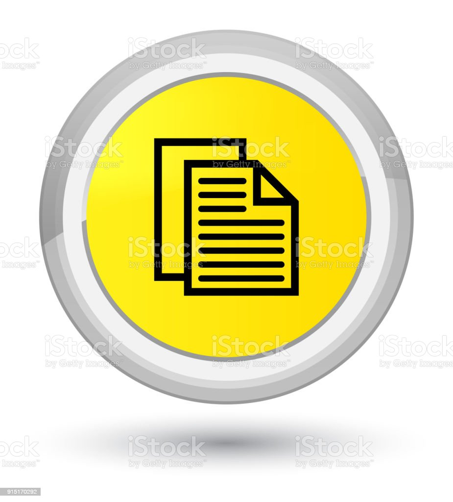 Document Pages Icon Prime Yellow Round Button Stock Vector Art
