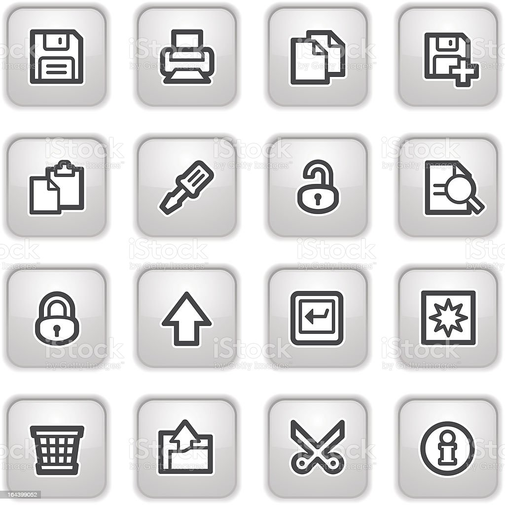 Document web icons on gray buttons, set 1. royalty-free document web icons on gray buttons set 1 stock vector art & more images of advice