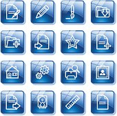 Document web icons, set 2. Blue glass buttons series.