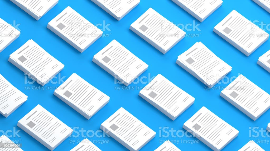 Documents collection on a blue background 3D Illustration vector art illustration