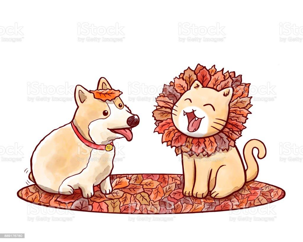 犬と猫の鬣を持つライオンを模倣した秋の紅葉 2匹のベクターアート素材