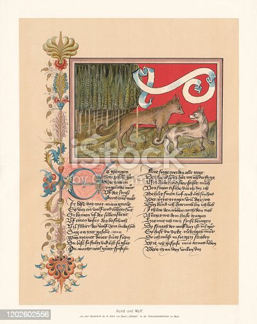 istock Dog and wolf, fable by Ulrich Boner (ca.1349), facsimile, 1897 1202602556