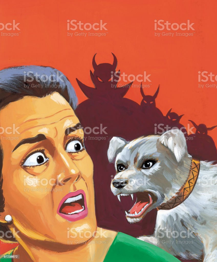 Dog Attacking Woman and Devils in the Background royalty-free dog attacking woman and devils in the background stock vector art & more images of adult