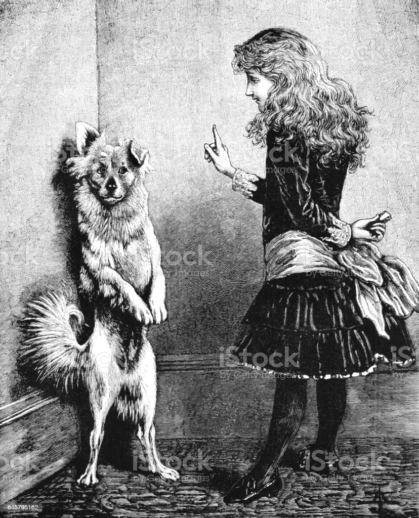 Dog being taught to beg by a Victorian girl vector art illustration
