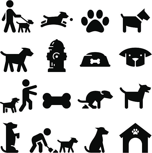stockillustraties, clipart, cartoons en iconen met dog icons - black series - honden