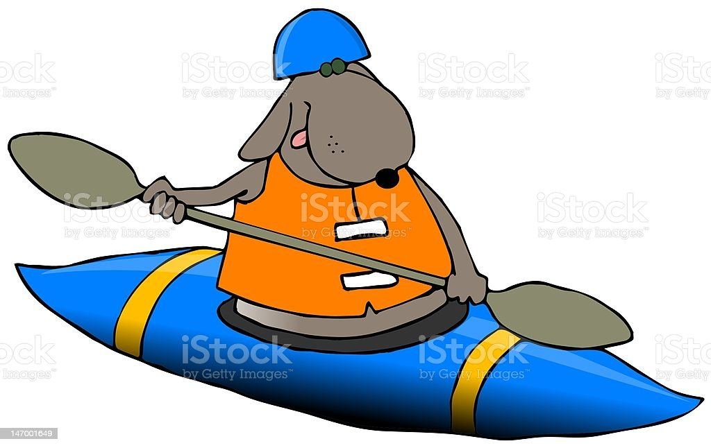 Dog In A Blue Kayak royalty-free stock vector art