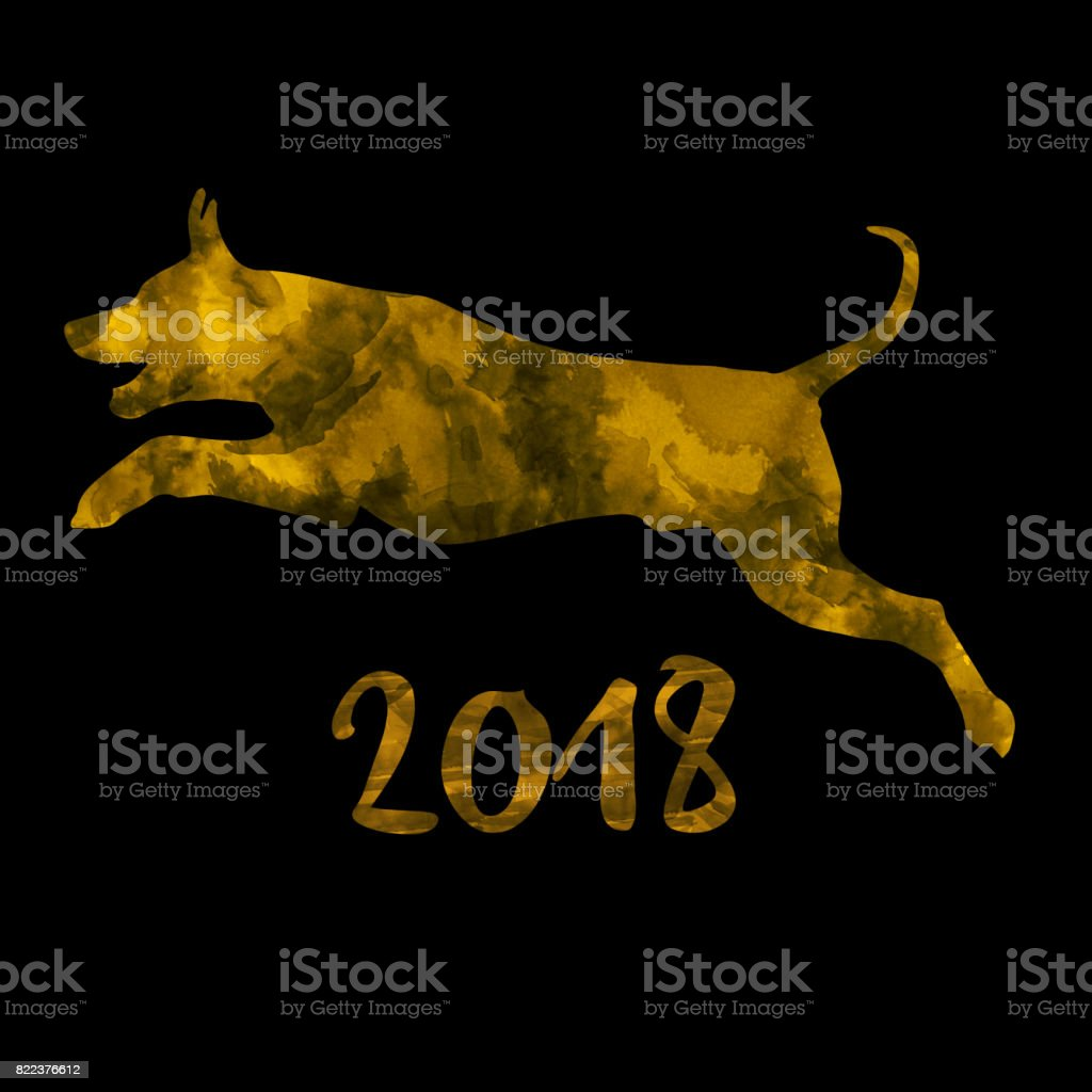 Dog in digital ink painting 2018 Dog in digital ink gold black painting 2018 with clipping path - created by me Abstract stock illustration