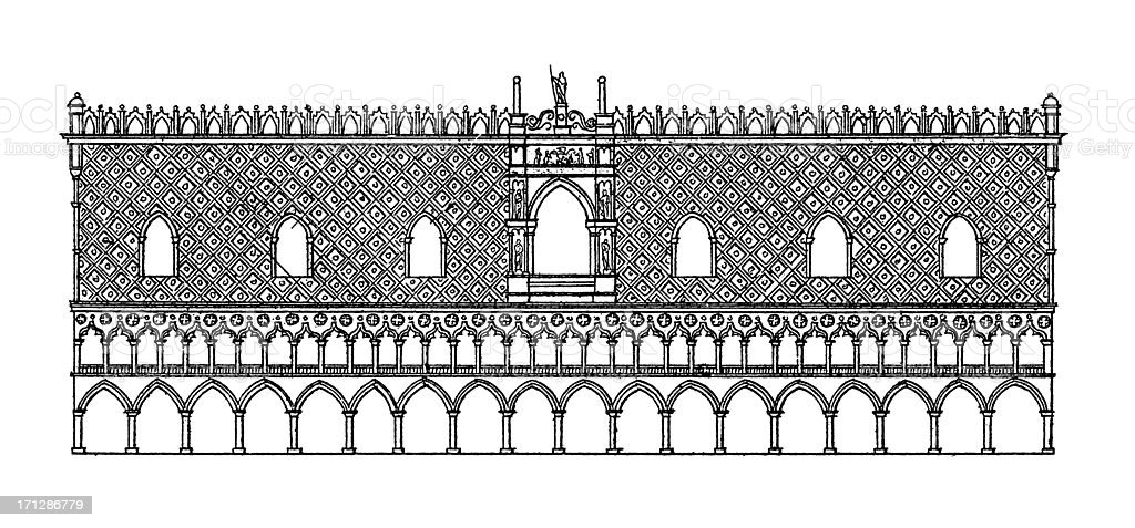Doge's Palace, Venice, Italy | Antique Architectural Illustrations royalty-free stock vector art