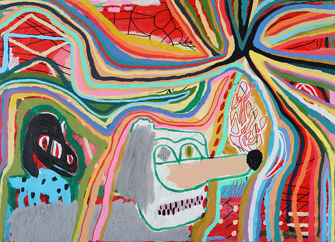 Painting of dogs in the spotlight. Concept of Fame