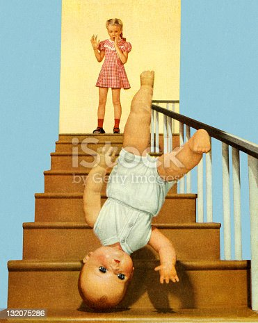 Doll Baby Falling Down The Stairs